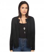 Куртка женская черная с бахромой