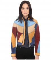 Куртка женская разноцветная замшевая