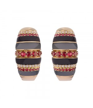 Серьги золотые с гематитом и бриллиантами Zlata