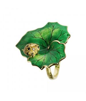 Кольцо золотое с эмалью и бриллиантами Чудо
