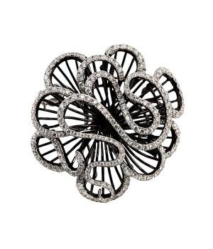 Брошь серебряная с бриллиантами Роза
